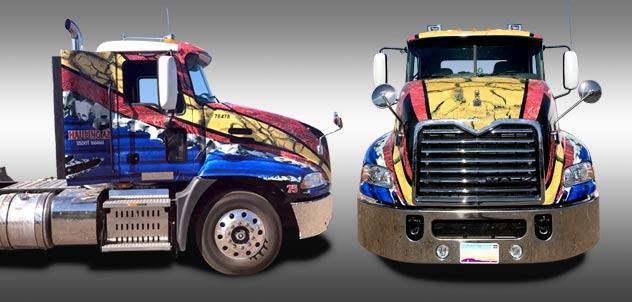 Hauling arizona semi truck vehicle wrap